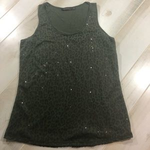 Green sequined tank top